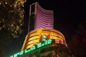 An Illuminated Bombay Stock Exchange building during the muhurat trading